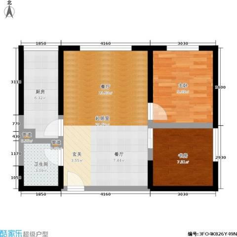 冠诚国际2室0厅1卫1厨58.99㎡户型图