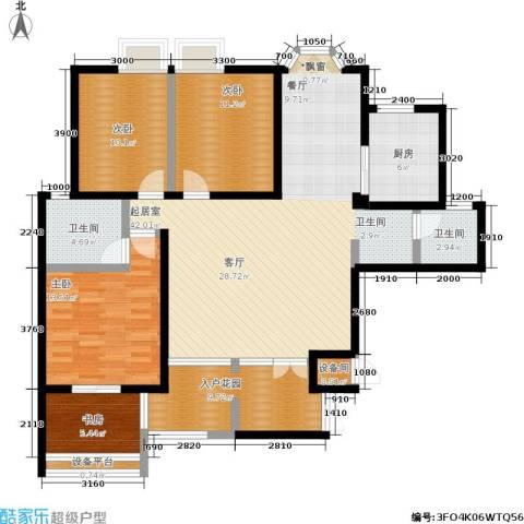 曲江观唐4室0厅2卫1厨139.00㎡户型图