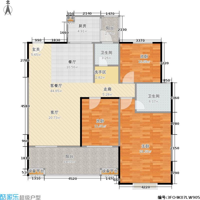 福天・水蓝湾户型3室1厅2卫1厨