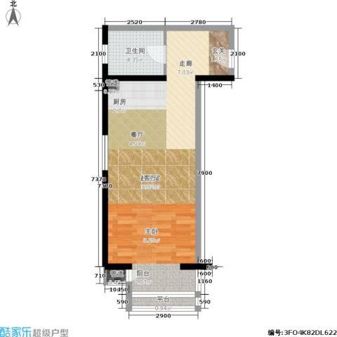 中天国际公寓1卫0厨50.00㎡户型图