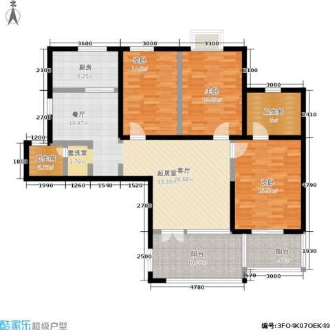 曲江观唐3室0厅2卫1厨140.00㎡户型图