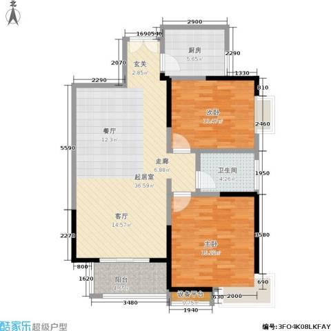 龙记帝景湾2室0厅1卫1厨88.00㎡户型图