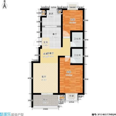 腾骐冠宸2室1厅2卫1厨122.00㎡户型图