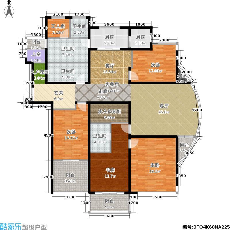 山水泉城218.77㎡二期 五室两厅两卫户型5室2厅2卫