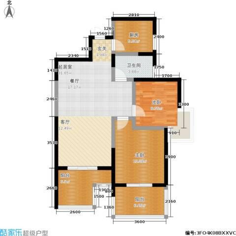 曲江观唐2室0厅1卫1厨106.00㎡户型图