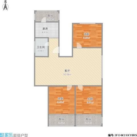 白云园3室1厅1卫1厨84.77㎡户型图