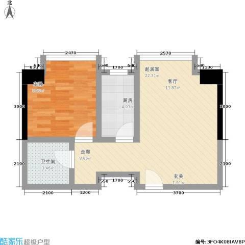 泰华世纪新城1室0厅1卫1厨56.00㎡户型图