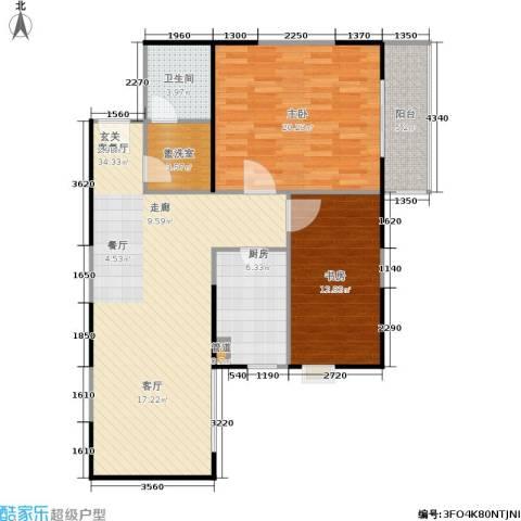 东南春晓2室1厅1卫1厨93.00㎡户型图