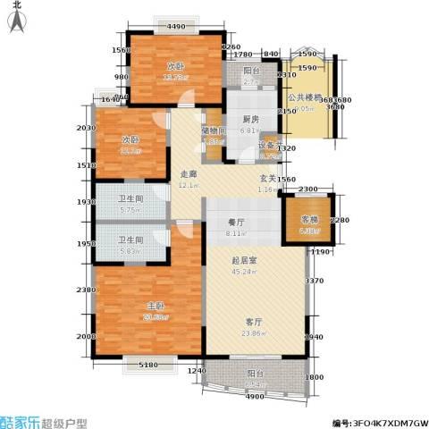 锦园新世纪3室0厅2卫1厨150.00㎡户型图