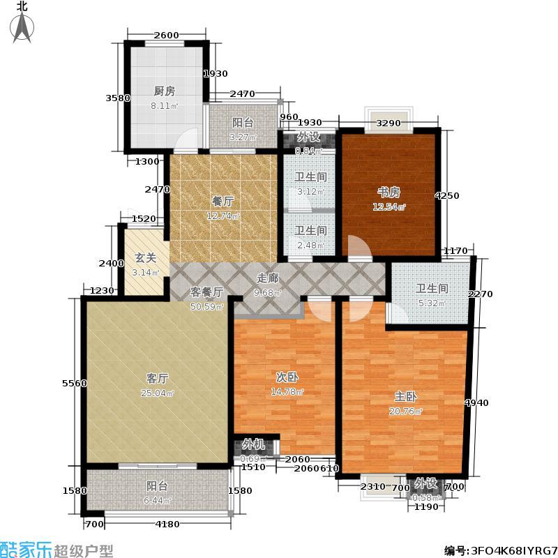 山水泉城142.64㎡二期 三室两厅两卫户型3室2厅2卫