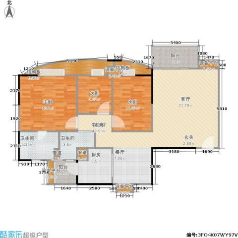 世纪云顶雅苑3室1厅2卫1厨118.00㎡户型图
