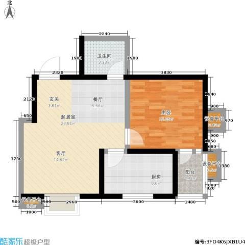 爱菊佳园1室0厅1卫1厨66.00㎡户型图