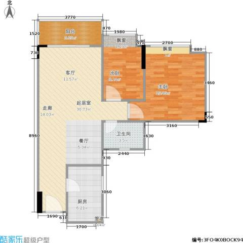 南湖半岛花园2室0厅1卫1厨69.18㎡户型图