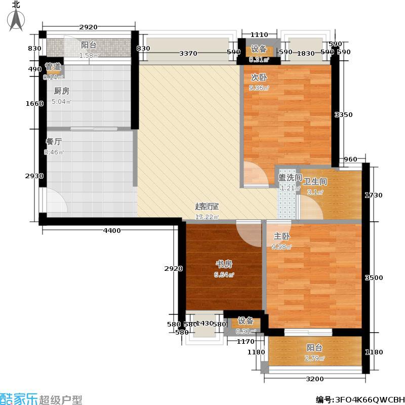 城南翡翠80.10㎡城南翡翠户型图在售3号楼A户型二室二厅一卫(2/4张)户型10室