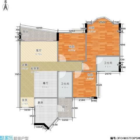 雅致花园3室0厅2卫1厨122.00㎡户型图