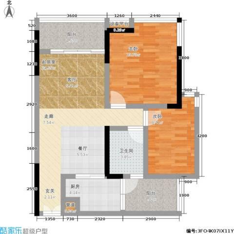 越秀上品轩2室0厅1卫1厨83.00㎡户型图