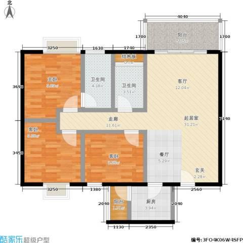 宏康东筑3室0厅2卫1厨90.00㎡户型图