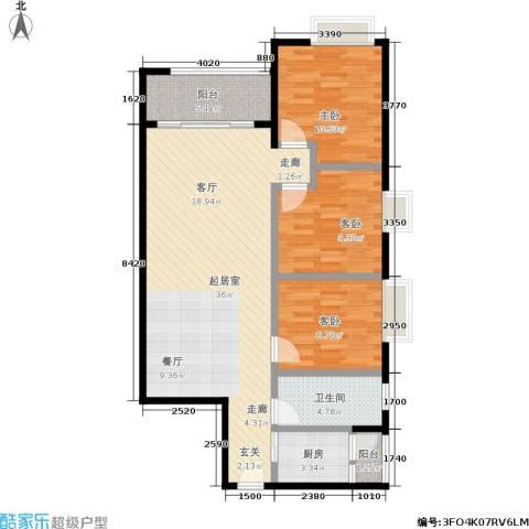 宏康东筑3室0厅1卫1厨90.00㎡户型图