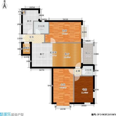 五栋大楼3室0厅2卫1厨135.00㎡户型图