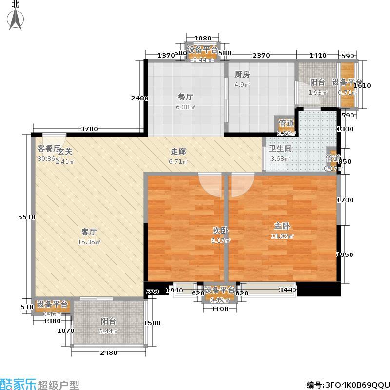 世纪云顶雅苑户型2室1厅1卫1厨