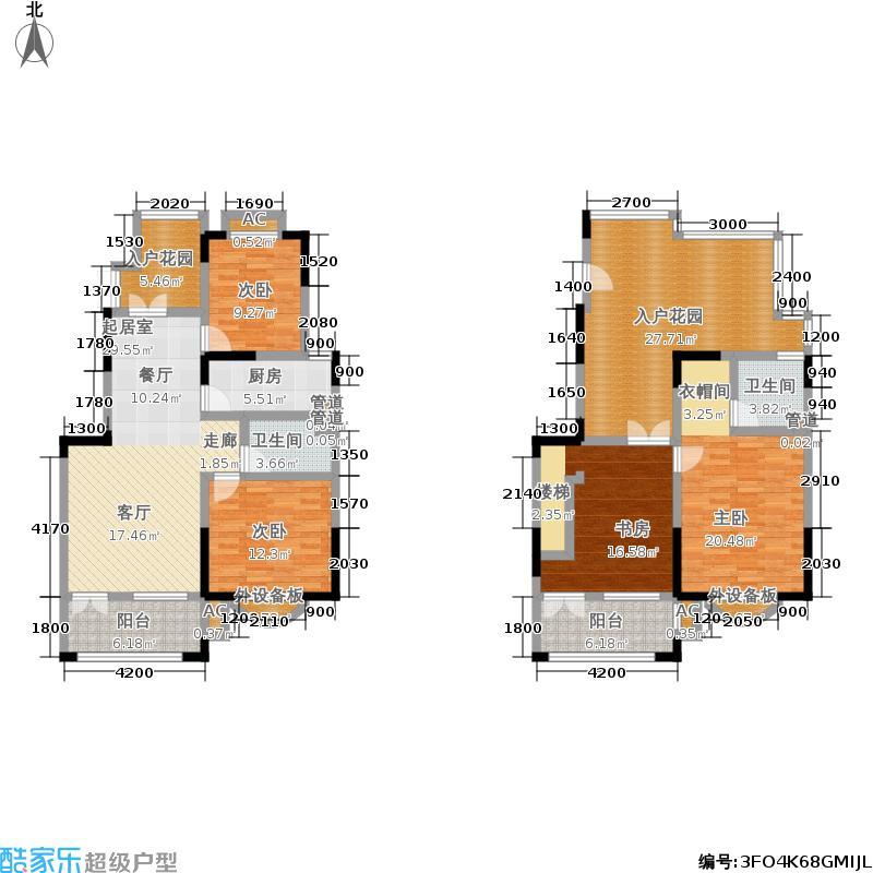中国诺贝尔城北入户顶层复式C户型3室3厅3卫1厨户型3室3厅3卫