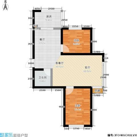 瀛滨寓家园2室1厅1卫1厨84.00㎡户型图