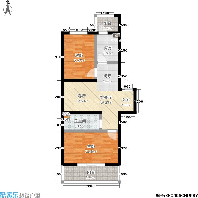 瀛滨寓家园76.46㎡瀛滨寓家园户型图2室1厅1卫1厨(5/8张)户型10室