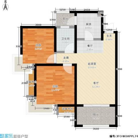 中华世纪城2室0厅1卫1厨85.00㎡户型图
