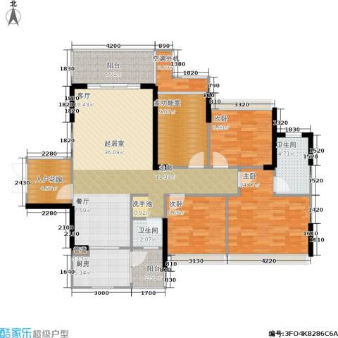 双水湾3室0厅2卫1厨123.00㎡户型图