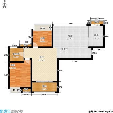 保利花园2室1厅1卫1厨95.00㎡户型图