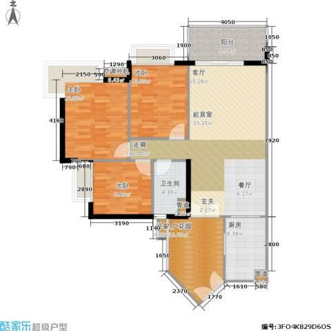 富力海洋广场3室0厅1卫1厨94.00㎡户型图