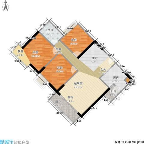 富力海洋广场3室0厅1卫1厨72.00㎡户型图