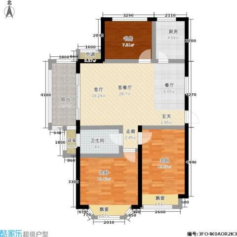 盛世名门3室1厅1卫1厨92.05㎡户型图