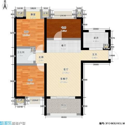 盛世名门3室1厅1卫1厨85.20㎡户型图
