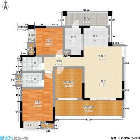 丽水菁苑栖景湾2室1厅2卫1厨103.97㎡户型图