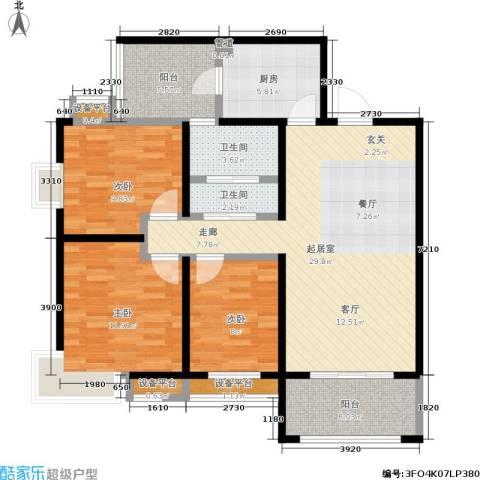 中华世纪城3室0厅2卫1厨122.00㎡户型图