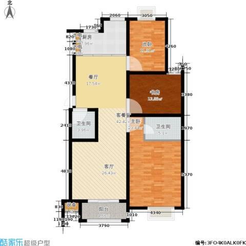 尚品清河3室1厅2卫1厨128.00㎡户型图