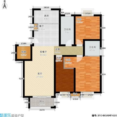 尚品清河3室1厅2卫1厨130.00㎡户型图