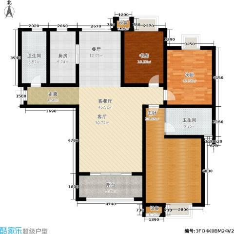 尚品清河3室1厅2卫1厨134.00㎡户型图