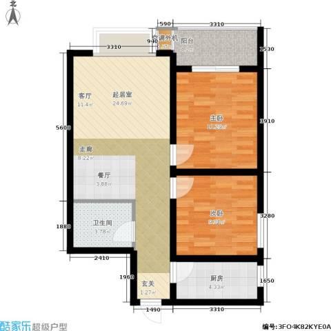 黄金嘉园2室0厅1卫1厨80.00㎡户型图