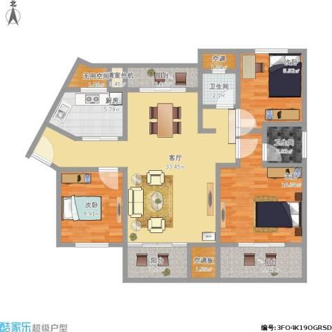 山水蓝天3室1厅2卫1厨134.00㎡户型图