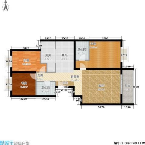 凤凰新城3室0厅2卫1厨99.12㎡户型图
