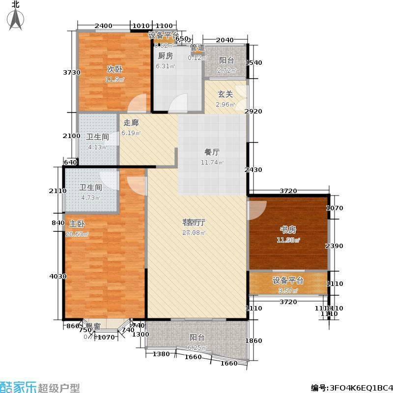 景怡佳苑130.00㎡房型: 三房; 面积段: 130 -140 平方米;户型