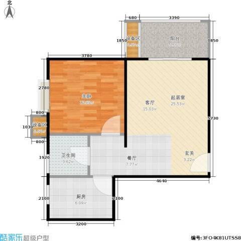 东方星家园1室0厅1卫1厨60.00㎡户型图