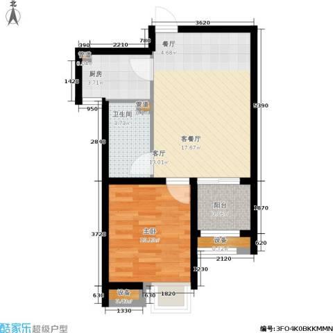 保利花园1室1厅1卫1厨58.00㎡户型图