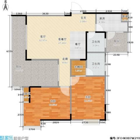 顺盛雅苑2室1厅2卫1厨86.74㎡户型图