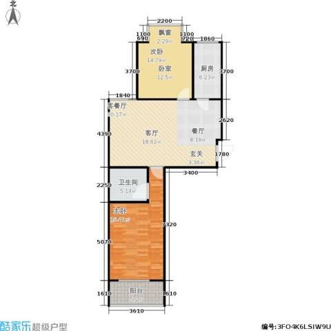 普利林景山庄2室1厅1卫1厨108.00㎡户型图