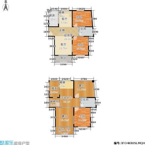 �泰华秀苑3室0厅2卫1厨134.00㎡户型图