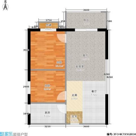 凤凰新城2室0厅0卫1厨61.00㎡户型图