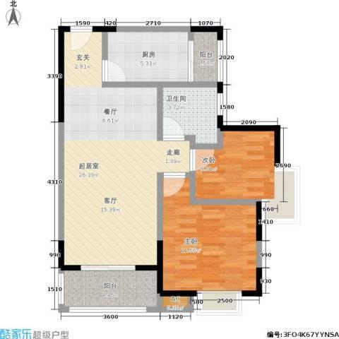 朗钜天域2室0厅1卫1厨86.00㎡户型图